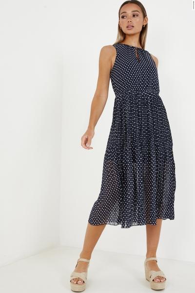Navy Chiffon Polka Dot Midi Dress